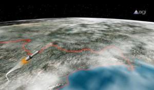 Računalni prikaz leta Sjeverno Korejske rakete, visoko iznad Japana put svemira