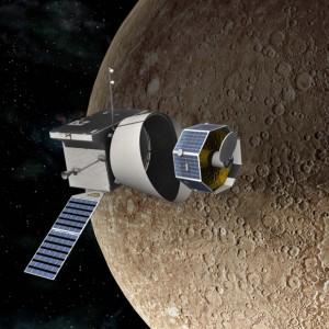 Umjetnička vizija BepiColombo oko Merkura