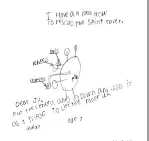 Skica sedmogodišnjeg Juliana - prijedlog NASAi kako izvući rover iz pjeska