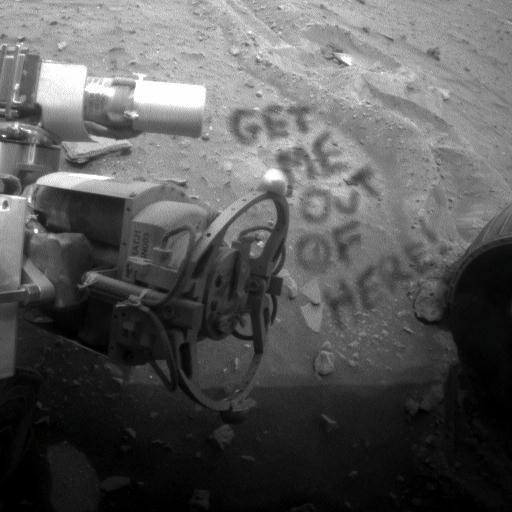 «Vadite me odavde», računalno dodan natpis na jednu od fotografija kamera koje prate situaciju oko Spirita