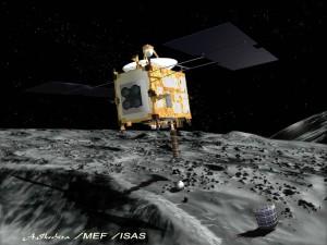 Nesretna Japanska letjelica Hayabusa iznad asteroida Itokawa, umjetnički prikaz